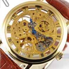 Ceas Mecanic Goer - Vintage Skeleton GOLD - CEL MAI MIC PRET - Ceas barbatesc Goer, Mecanic-Manual, Piele ecologica