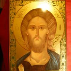 Icoana aurita Grecia - Iisus Christos, dim. = 18, 2 x 25 cm - Icoana cu foita de aur