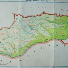 Bucuresti regiunea  harta fizica si economica  RSR Republica Socialista Romania