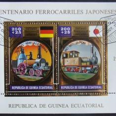 GUINEEA EQ 1972 - CAILE FERATE JAPONEZE, 1 S/S, OBLIT CU FOLIE AUR - GEQS 024