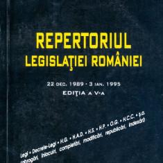 Ioan Vida - Repertoriul legislatiei Romaniei. 22 dec.1989-3 ian.1995. Editia a V-a. - 13871 - Carte Legislatie
