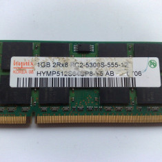 Memorie RAM laptop Nanya DDR 2 de 1 GB HYNIX PC2-5300S-555-12, 533 mhz