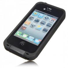 Husa Telefon Apple impermeabila rezistenta iPhone 4 4s + folie ecran, Negru, Plastic
