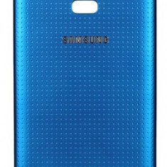 Carcasa capac spate Albastru Samsung Galaxy S5 + folie ecran cadou - Husa Telefon Samsung, Auriu