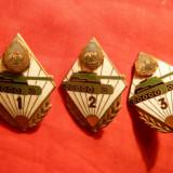 3 Insigne Academia Militara- Sectia Tancuri , cca.1960 ,cu cele 3 clase