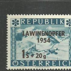 Austria 1954 – AVALANSE IN MUNTII ALPI, timbru nestampilat cu SUPRATIPAR, D1A