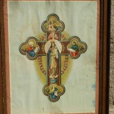 Icoana veche litografie crucea sf. Evanghelisti