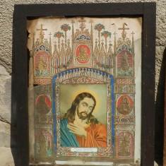 Icoana veche litografie Jesus Christus