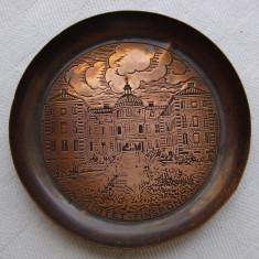 Frumoasa farfurioara din cupru, inscriptionata SLOTTET FINSPONG (1), Ornamentale
