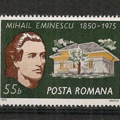 Romania.1975 125 ani nastere M.Eminescu CR.454 - Timbre straine