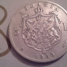 5 LEI 1880 ARGINT DE COLECTIE /8 - Moneda Romania
