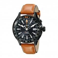 Ceas Timex Intelligent Quartz 3-GMT Dial Leather Strap Watch   100% originali, import SUA, 10 zile lucratoare - Ceas barbatesc
