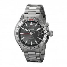 Ceas Timex Intelligent Quartz 3-GMT Dial Stainless Steel Bracelet Watch   100% originali, import SUA, 10 zile lucratoare - Ceas barbatesc Timex, Otel