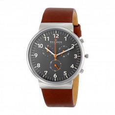 Ceas Skagen Ancher Leather Chronograph | 100% originali, import SUA, 10 zile lucratoare - Ceas barbatesc Skagen, Lux - sport