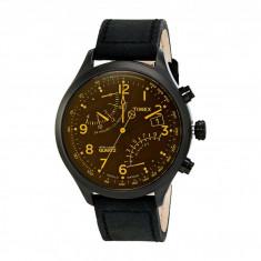 Ceas Timex Intelligent Quartz Fly Back Chronograph Amber Leather Strap Watch   100% originali, import SUA, 10 zile lucratoare - Ceas barbatesc
