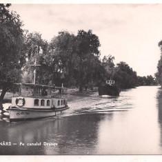 % carte postala (ilustrata) -DELTA DUNARII-Pe canalul Dranov - Carte postala tematica, Necirculata, Fotografie