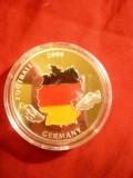 2 Plachete  Footbal Meciul Elvetia- Austria 2008 ,d= 4 c, cupru placat cu argint