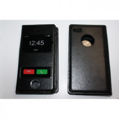 Husa Flip Cover S-View iphone 4 Neagra - Husa Telefon Apple, Alb, Plastic