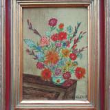 Vaza cu flori - semnat  Et. De Clerck
