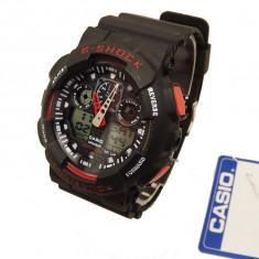 Ceas sport CASIO G SHOCK Ga100 black-red (Poze reale, Garantie) - Ceas barbatesc