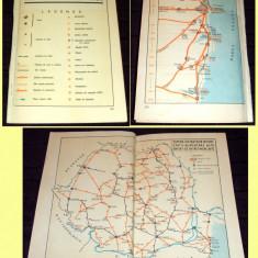 1967 Porthartul automobilistului, harti rutiere Romania, Delta, Litoral, PECO