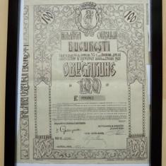 Obligatiune 100 lei 1921 inramata