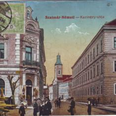 Ok-0954- Romania, Satu Mare, c.p. circ. 1915 TCV: Str.Kazinczy, magazin evreiesc - Carte Postala Maramures 1904-1918, Circulata, Fotografie