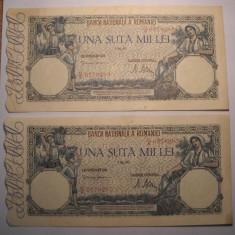 Lot 100000 lei 1947 MAI Serii Consecutive XF + AUNC - Bancnota romaneasca