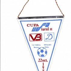 Fanion fotbal VICTORIA Bucuresti - DINAMO Tbilisi 22.10.1987 Cupa UEFA