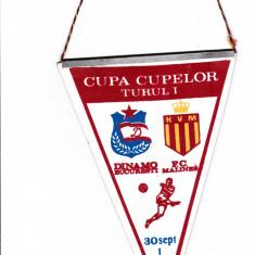 Fanion fotbal DINAMO Bucuresti - FC MALINES 30.09.1987 Cupa Cupelor