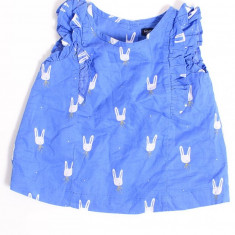 Bluzita de vara albastra cu iepurasi, marca Baby GAP, fetite 12-18 luni, Culoare: Albastru, Fete