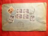 Plic circulat cu bloc 4  de 1 leu ,Uzuale Carol II ,de la Horezu la Bucuresti