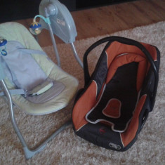 Scoica+balansoar+lenjerie+3 salopete+1 sac haine baietel 0-6 luni - Scaun auto copii, 0+ (0-13 kg), Isofix