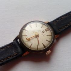 Ceas de dama mecanic marca CERTINA, Model 19-20 - Ceas dama Certina, Elegant, Mecanic-Manual, Placat cu aur, Piele, Analog