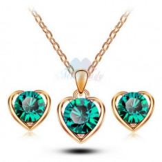 Set bijuterii -Heart- placat aur 18 k, cristale cubic zirconia + CUTIUTA - Set bijuterii placate cu aur Energie