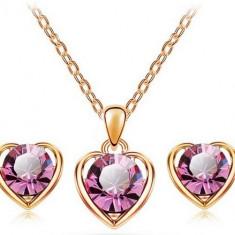Set  bijuterii -Heart- placat aur  18 k , cristale cubic zirconia + CUTIUTA