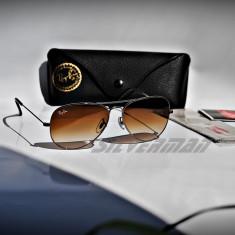 Ochelari de soare Ray Ban RB3025 04/51, Unisex, Maro, Pilot, Metal, Protectie UV 100%