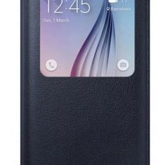 Husa flip s view neagra piele eco Samsung Galaxy S6 + folie protectie ecran