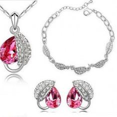 Set bijuterii -Royal- placat aur alb 18 k - Set bijuterii placate cu aur Firesq