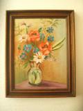 TABLOU FLORAL , PICTURA PE PANZA, Flori, Tempera, Realism