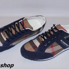 Adidasi BURBERRY din Panza - Maro / Bleumarin - NOUA COLECTIE !!! - Adidasi barbati Burberry, Marime: 41, 42, 43, Textil