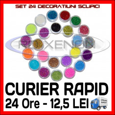 SET 24 DECORATIUNI SCLIPICI - MANICHIURA UNGHII FALSE GEL UV - PRET MINIM - Model unghii Sina