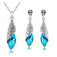 Set bijuterii -Kenzo - placat aur alb 18 k, cristale cubic zirconia + CUTIUTA - Set bijuterii placate cu aur Energie