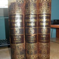 C.DIACONOVICH - ENCICLOPEDIA ROMANA * 3 VOLUME - SIBIU - 1898-1904 - Carte veche