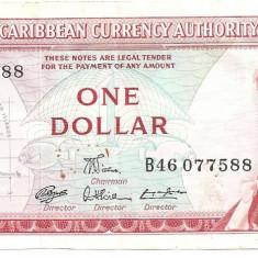 EAST CARIBBEAN CARAIBE CURRENCY AUTHORITY 1 DOLLAR ND(1965) XF - bancnota america