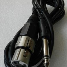 Cablu audio profesional microfon XLR 3 pini mama la JACK 6.3 - 3 metri