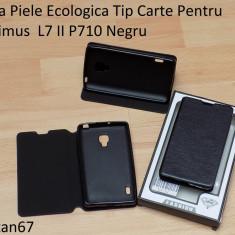 Husa Piele Ecologica Tip Carte Pentru Optimus L7 II P710 Negru - Husa Telefon LG