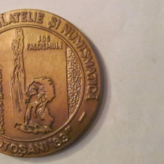 "MMM - Medalie Romania ""Expozitia de Filatelie si Numismatica Botosani '83"" bronz"