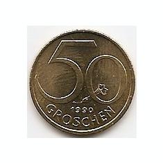 Austria 50 groschen 1990 - 19.5 mm KM-2885, Europa