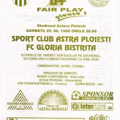 Program meci fotbal SC ASTRA PLOIESTI - GLORIA BISTRITA 29.08.1998